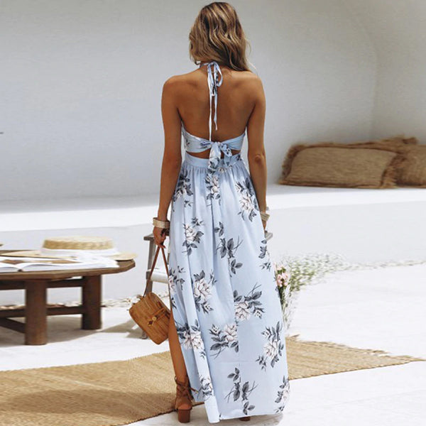 Boho Style Bow Tie Back Summer Maxi Dress - Floral Print