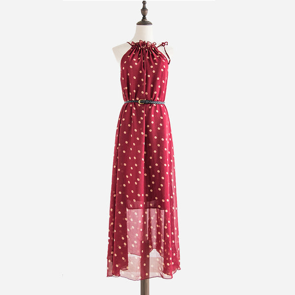 Sassy Chiffon Polka Dot Summer Maxi Dress - 2 Colors