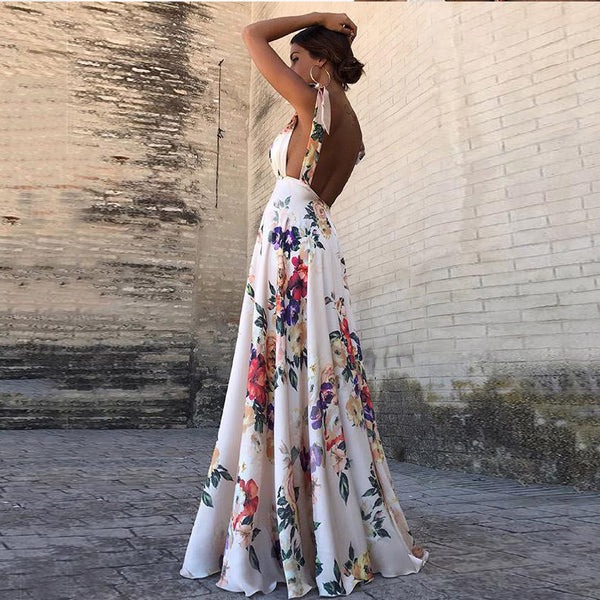 BOHO Rose Garden A-Line Summer Maxi Dress