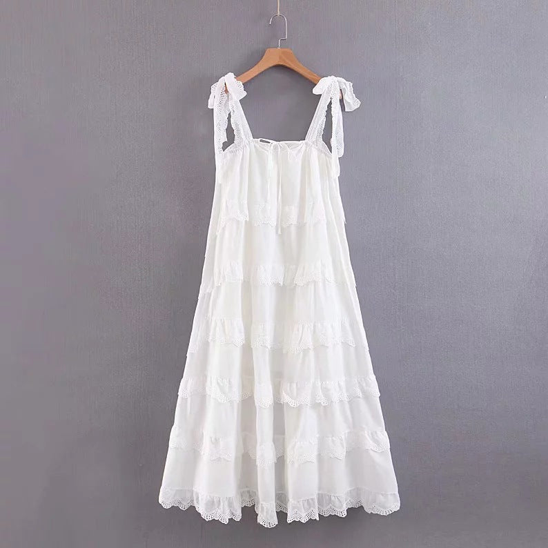 Shabby Chic Lace Ruffled Maxi-Mini Dress