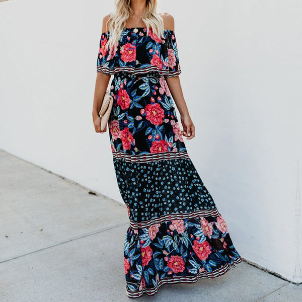 Hibiscus Floral Off Shoulder Maxi Dress