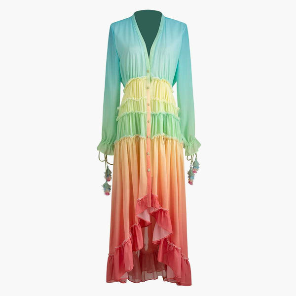 Rainblows & Ruffles Summer Maxi Dress
