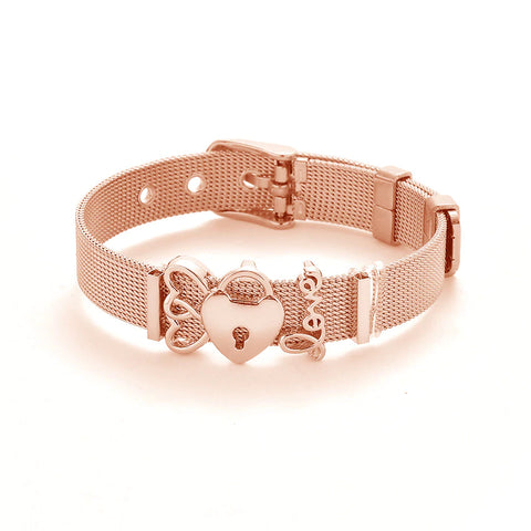 Mesh Love Locket Adjustable Fashion Band Bracelet - Available in 3 Colors