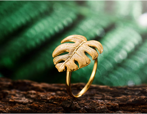 Handcrafted Monstera Leaves 925 Sterling Ring