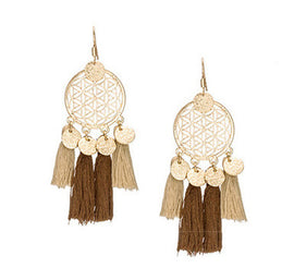 La Bohem Collection  - Geometric Dream Catcher Tassel Earrings