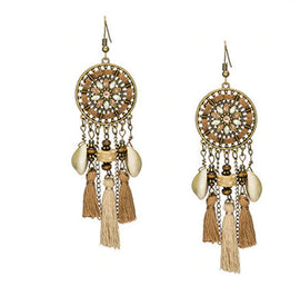 La Bohem Collection  - Sea Shell & Beaded Dream Catcher Tassel Earrings :: BEST SELLER!