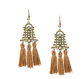 La Bohem  Collection  - Antique Gold Temple Tassel Earrings