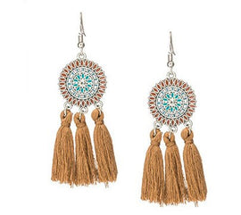 La Bohem  Collection  - Teal Starburst Triple Tassel Earrings