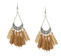 La Bohem Collection  - Antique Silver Half Moon Tassel Earrings