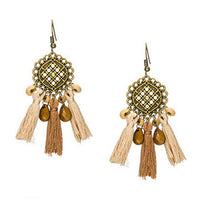 La Bohem Collection  - Crisscross Beaded Tassel Earrings