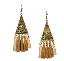 La Bohem Collection  - Tribal Triangle Tassel Earrings