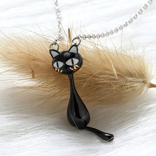 Naughty Cat Collection - Swinging Tail Kitty  - Necklace  - Genuine 925 Sterling Silver