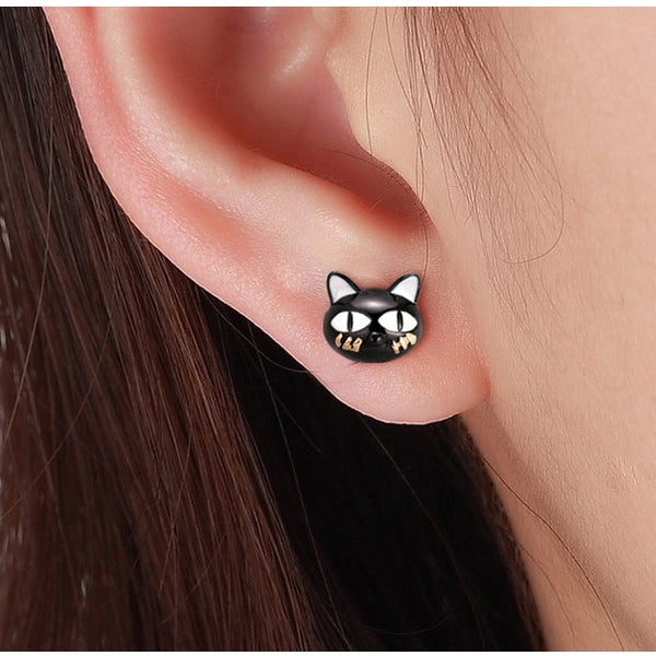 Naughty Cat Collection  - I'm Kitty :: Stud Earrings - Genuine 925 Sterling Silver