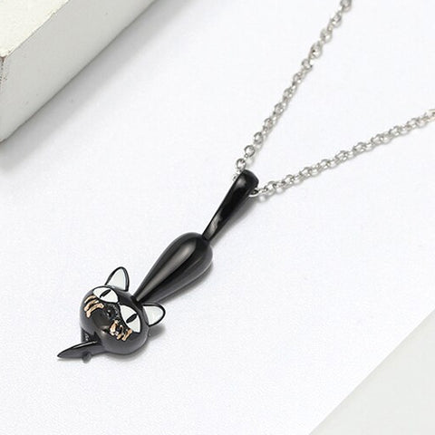 Naughty Cat Collection - Just Hangin' Around - Necklace  - Genuine 925 Sterling Silver