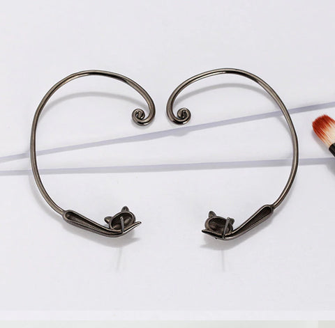 Naughty Cat Collection :: Wrap Around Tail Earrings - Genuine 925 Sterling Silver
