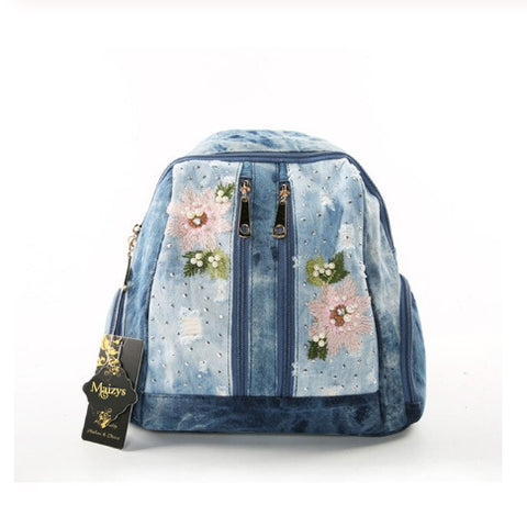 Oval Embroidered Flower & Pearls Distressed II - Denim Backpack