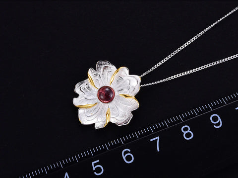 Handcrafted Peony And Tourmaline Necklace