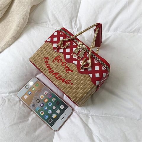 Hand Crafted Mini Picnic Basket Novelty Handbag