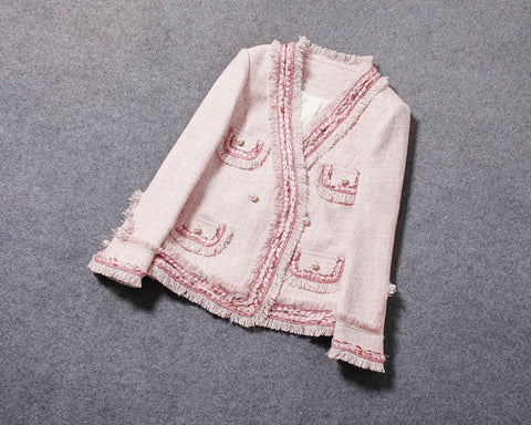 Boutique Collection :: Pink Frills Tweed Jacket in Cherry Blossom Pink