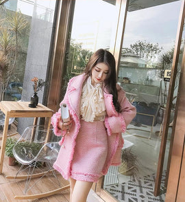 Boutique Collection :: Pink Frills Tweed Pea Style Coat