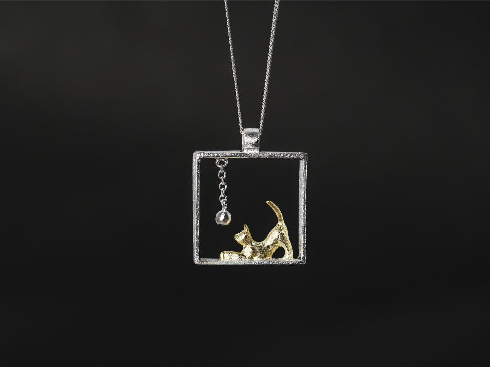 Handcrafted Playful Kitty Necklace