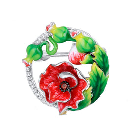 Hand Crafted Poppy Dual Brooch or Pendant