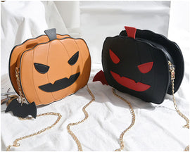 Novelty Collection - Jack-O-Lantern Shoulder Bag  - Available in 2 Colors! - Seasonal Item
