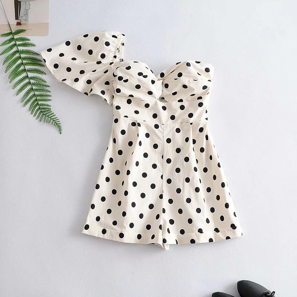 Polka Dot One Shoulder Summer Jumper