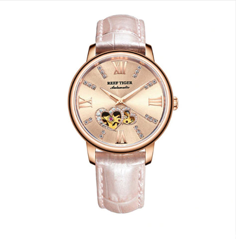 Reef Tiger - Double Heart Series - Luxury Ladies Fashion Watch