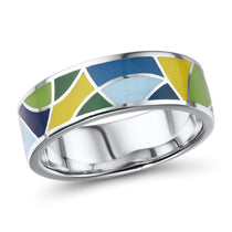 Retro Inlaid Sterling Silver Band