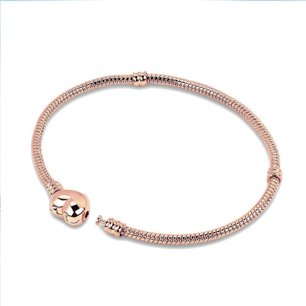 Rose Gold Heart European Snake Chain Bracelet - Multi-Size