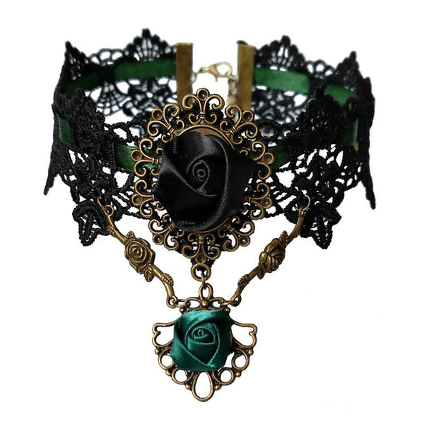 Antique Roses & Black Lace Choker