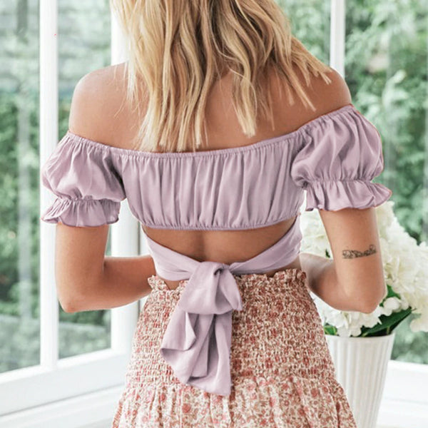 Pale Purple Off Shoulder Ruffled Top