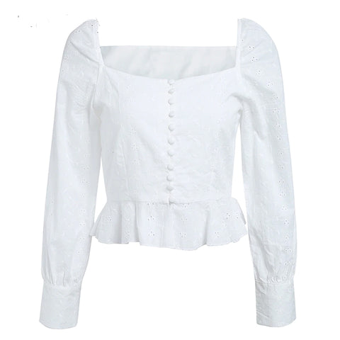 Vintage Style Ruffled Bottom Long Sleeve Top