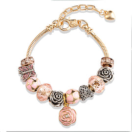 Sculpted Rose & Butterflies :: Handmade European Charm Bracelet :: BEST SELLER!