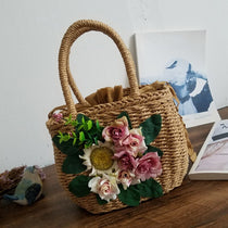 The Sheila - Handmade Over Sized Straw Tote with Sunflower Embellishments - Available in 2 Styles!