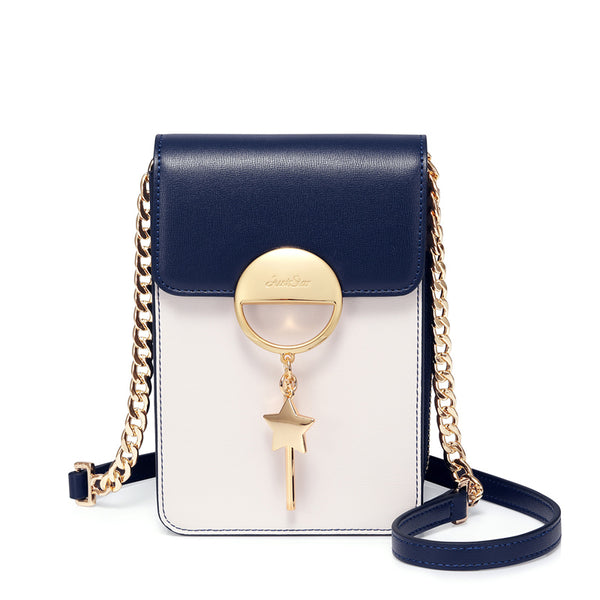 Navy Blue & White Genuine  Leather Cross Body Satchel