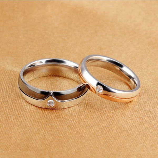 Silver Black or Silver Gold Couples Rings