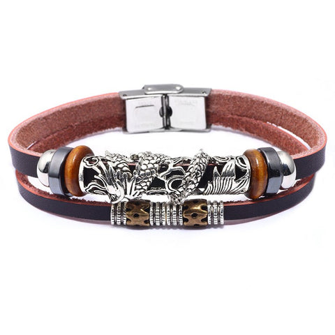 Chinese Dragon Genuine Leather Men's Bracelet