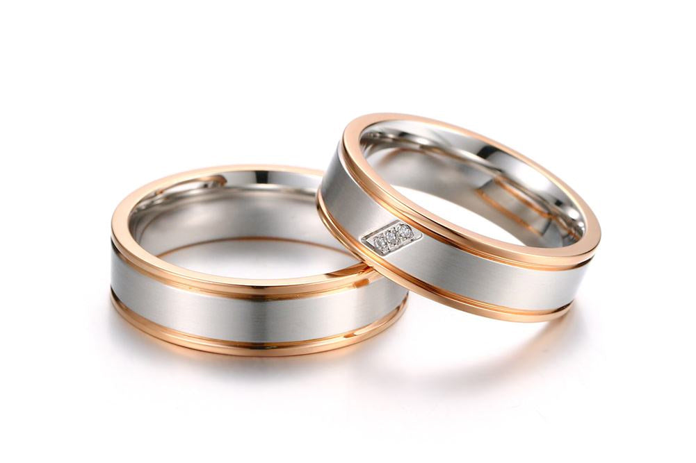 Silver with Gold Trimmed Couple Ring Set