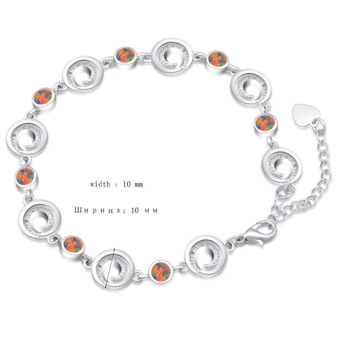 Sterling Silver Swirl & Fire Opal Bracelet  :: Available in 3 Colors