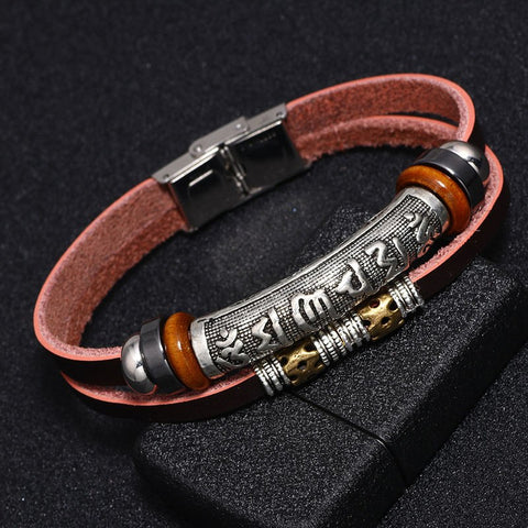 Six Words Buddha Mantra Layered Leather Bracelet