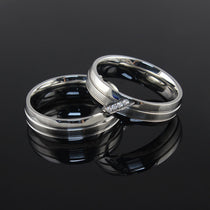 Sleek Stainless & Crystal Couples Ring