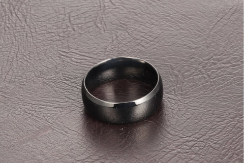 High Polished Black Stainless Couple Ring Set