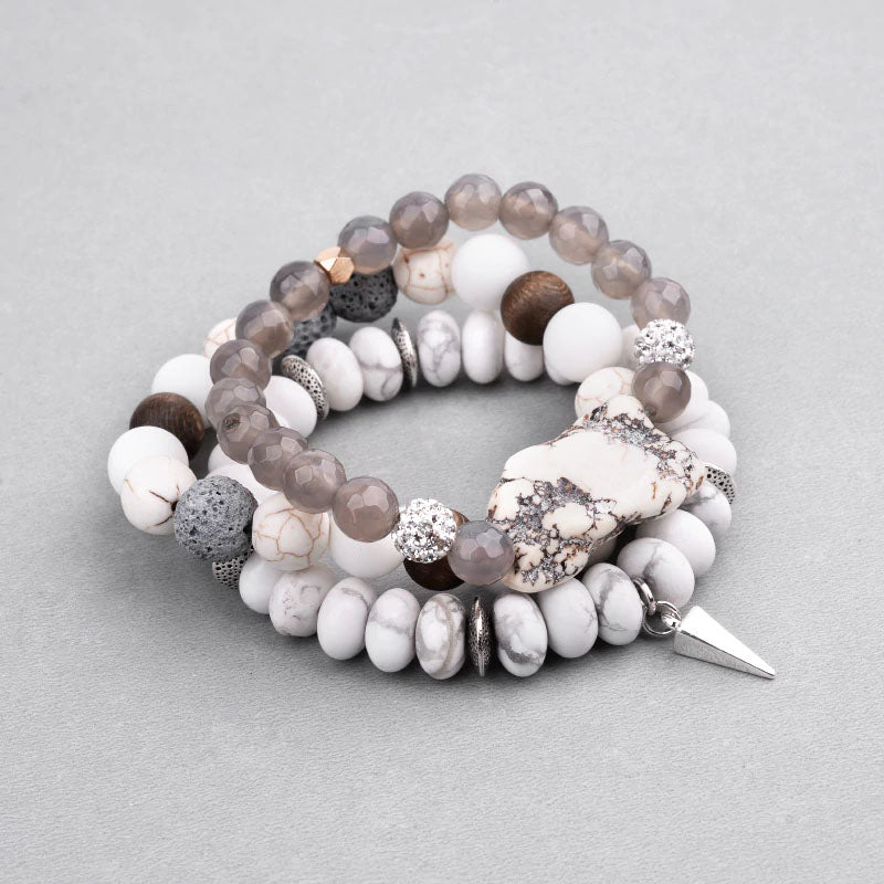 Bohemian Lava and  Natural Stone 3-Piece Stack Bracelet