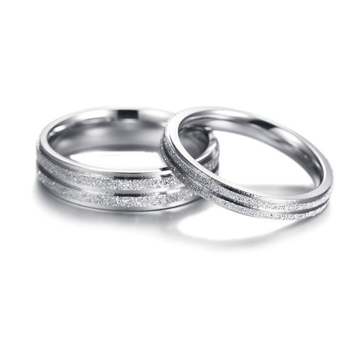 Frosted Stainless Steel Couples Ring