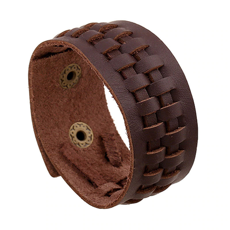 Style 105 - Men's Hand Tooled Single Weave Genuine Leather Cuff Bracelet