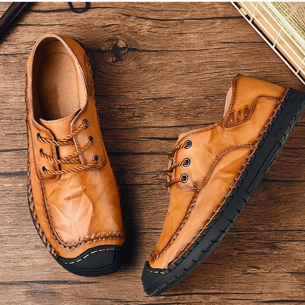 Style 109 Genuine Leather Rubber Toe Lace Up Moccasins  :: Available in 3 Colors