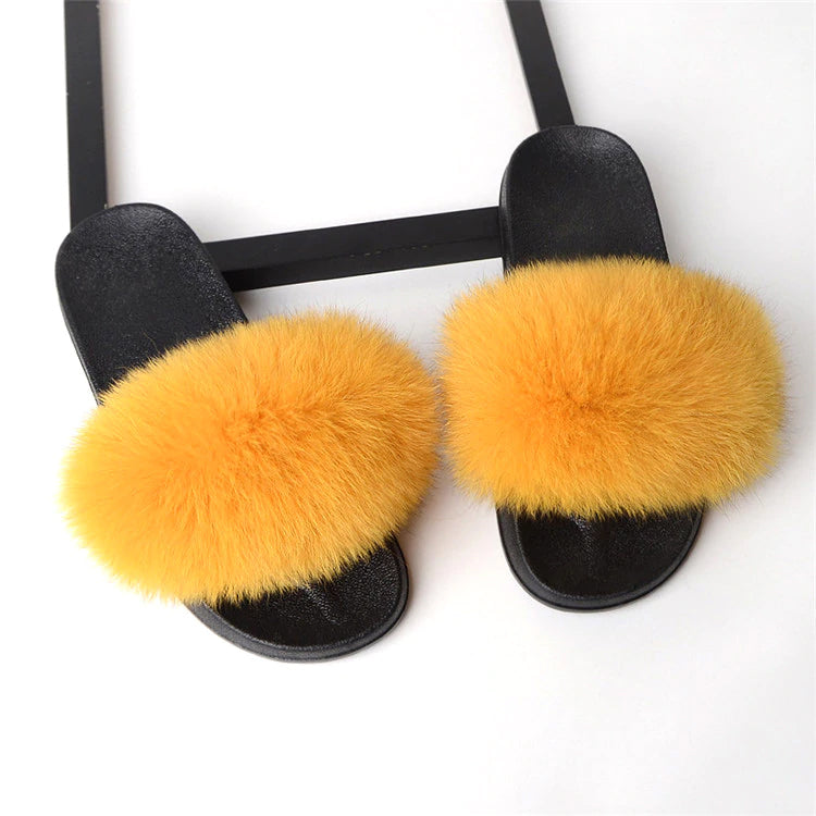 Style 113 Luxury Faux Fur Slippers :: Cantaloupe  :: BEST SELLER!