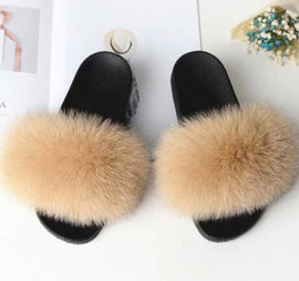 Style 113 Luxury Faux Fur Slippers ::  Khaki